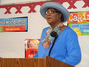 Foster Grandparent Rena McCrea, at D. P. Cooper Elementary School