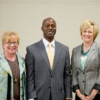 Ginny Ann Blackson, Josh Davis, and Lisa Curless at the Rural Education Summit.