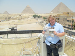 Ann Blackman at the Great Pyramids in Giza, Egypt.