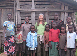 Annie Gibavic with neighbor children in the village of Kamagap, Kenya.