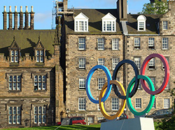 Symbols of the 2012 London Olympics on The Mound in front of the General Assembly Hall of the Church of Scotland.