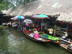 Local floating markets in Bangkok, Thailand.