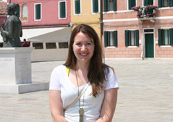 Katie Hendrickson, near the lace museum on the island of Murano in the Venetian Lagoon.