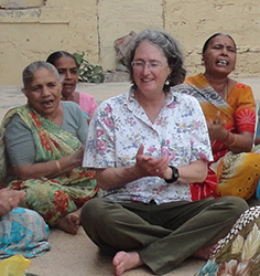 Gloria Waggoner and Marta Coleman at a temple in Porbandor, birthplace of Mahatma Gandhi.