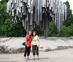 Kristi Day and Lynn Barber at the Sibelius Monument honoring Finland's most noted composer