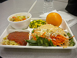 Student's colorful lunch plate featuring locally grown produce, Vermont